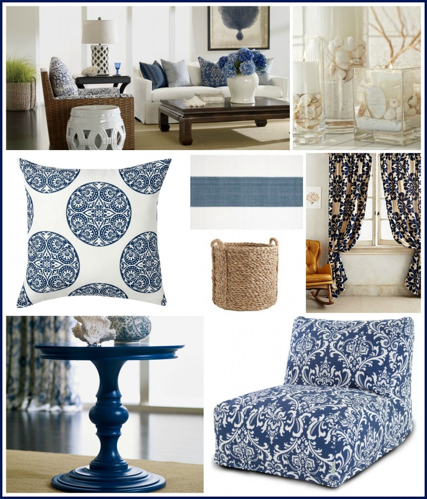 Navy White Coastal Collage w Border