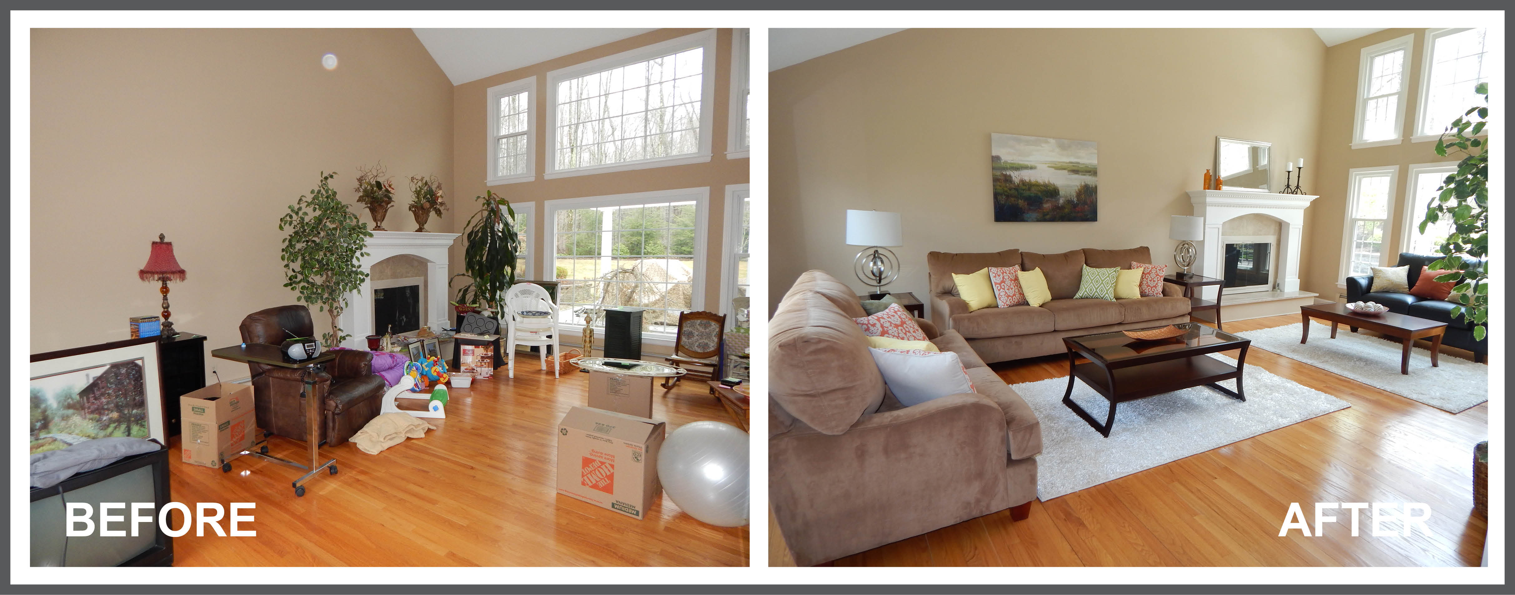 Differences between home staging and interior decorating for Difference between living room and family room